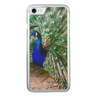 painted peacock carved iPhone 7 case