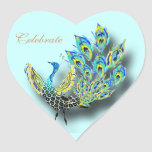 Painted peacock heart sticker