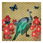 Painted Peacock & Peonies Gold Stars Poster