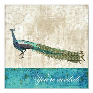 Painted Peacock Sea Blue & White Vintage Invitatio Announcements