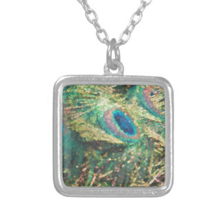 Painted Peacock Square Pendant Necklace