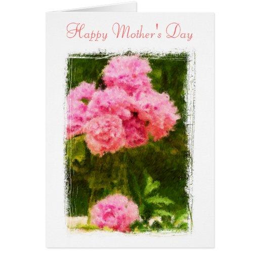 Painted peonies greeting card