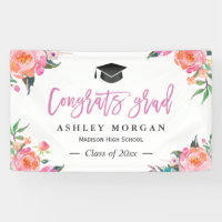 Painted Pink Floral Congrats Grad Graduation Party Banner