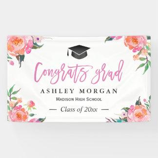 Painted Pink Floral Congrats Grad Graduation Party Banner