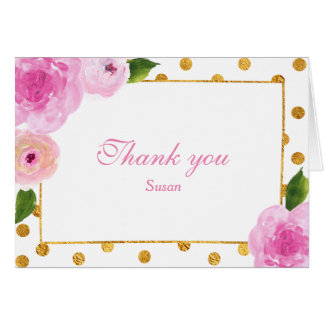 Painted Pink Flowers w/Gold Thank you Note Card