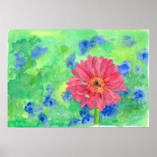 Painted Pink Gerbera Daisy Watercolor Art Poster
