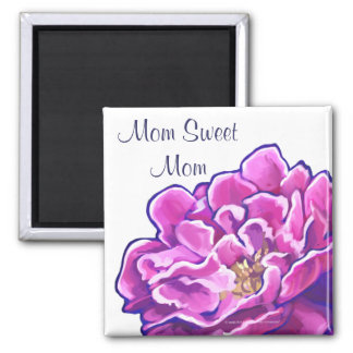 Painted Pink Peony Mom Sweet Mom Magnet