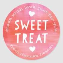 Painted Pink Red Sweet Treat Valentines Day Classic Round Sticker