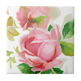 Painted Pink Roses in Vintage style Ceramic Tile