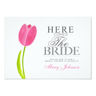 """Painted Pink Tulip Bridal Shower Party Card 5"""" X 7"""" Invitation Card"""