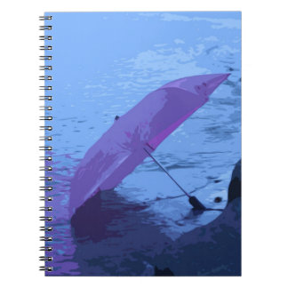 Painted Pink Umbrella Rainy Day Notebook