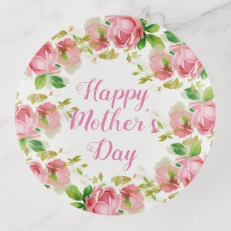 Painted Pink vintage roses - Happy Mother's Day Trinket Trays
