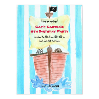 Painted Pirate Ship Birthday Invitation