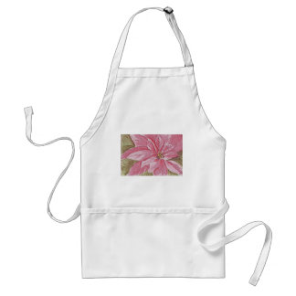 Painted Poinsettia Christmas Flower Adult Apron