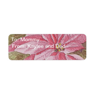 Painted Poinsettia Christmas Flower Label