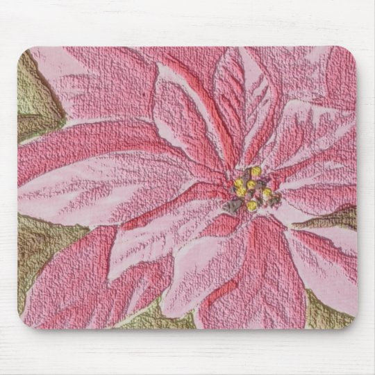 Painted Poinsettia Christmas Flower Mouse Pad
