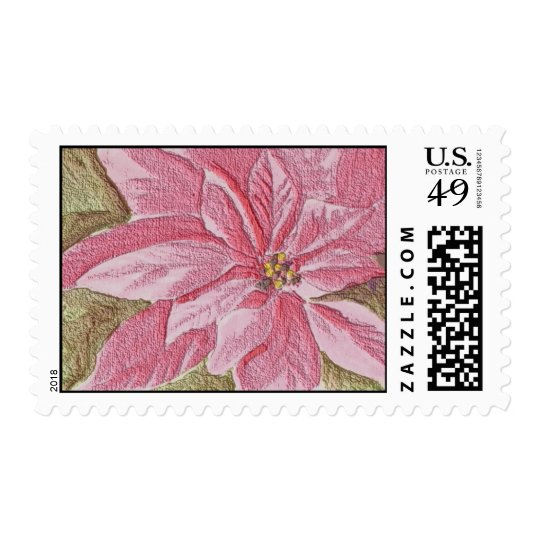 Painted Poinsettia Christmas Flower Postage