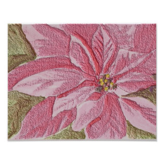 Painted Poinsettia Christmas Flower Posters