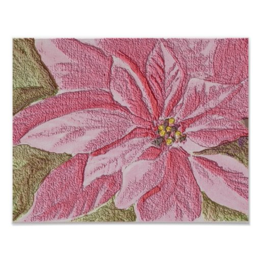 Painted Poinsettia Christmas Flower Poster