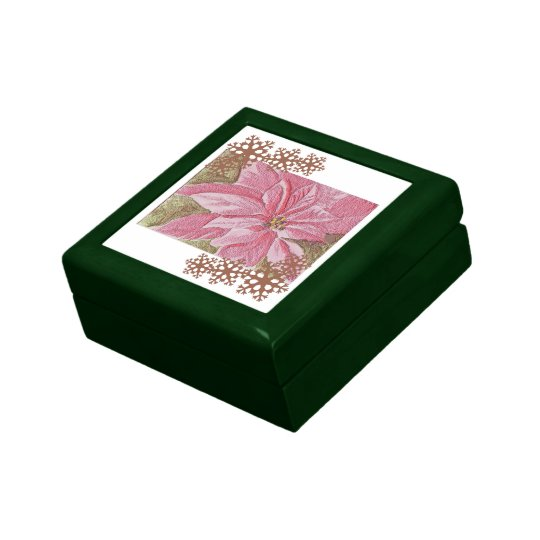 Painted Poinsettia Christmas Flower Tile Jewelry Box