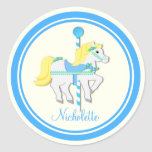 Painted Pony Blue and Yellow Carousel Classic Round Sticker