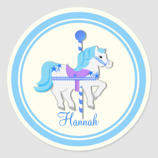 Painted Pony Blue Stars Carousel Classic Round Sticker