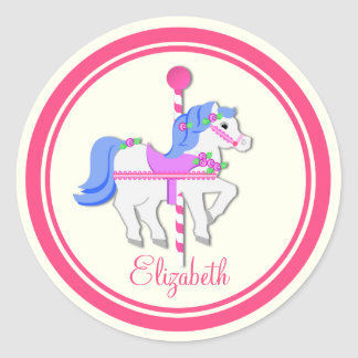 Painted Pony Pink and Blue Carousel Classic Round Sticker