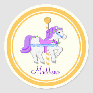 Painted Pony Purple and Gold Carousel Classic Round Sticker