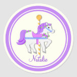 Painted Pony Purple and Gold Carousel Round Stickers