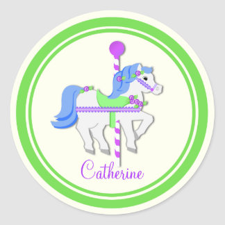 Painted Pony Purple, Blue and Green Carousel Classic Round Sticker
