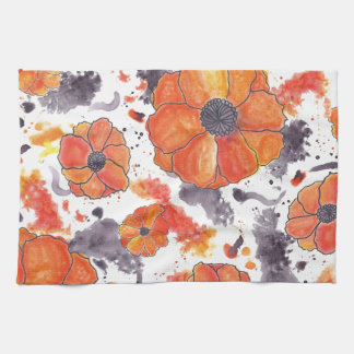 Painted Poppies Hand Towels