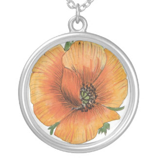 Painted Poppy Round Sterling Silver Necklace