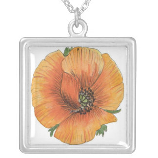 Painted Poppy Square Sterling Silver Necklace