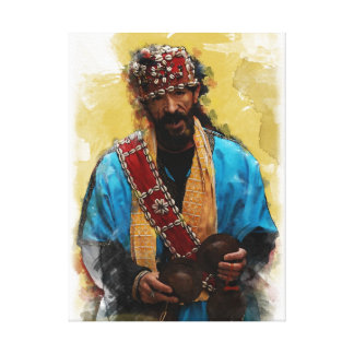 Painted Portrait of Gnaouan Musician of Morocco Canvas Print