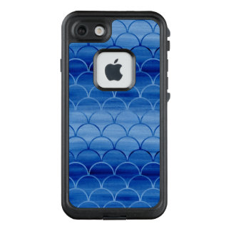Painted Prussian Blue Watercolor Scale Pattern LifeProof® FRĒ® iPhone 7 Case