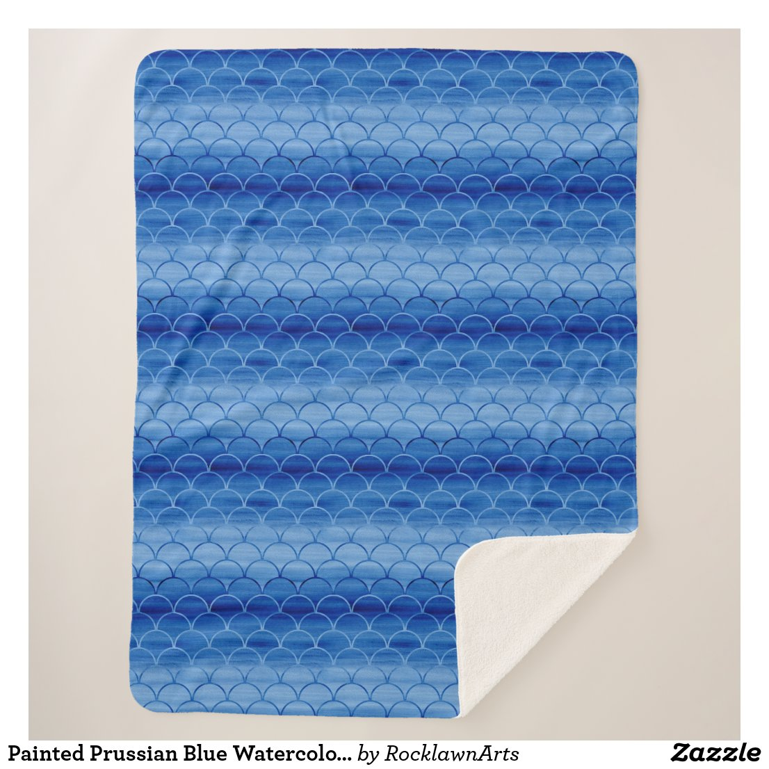 Painted Prussian Blue Watercolor Scale Pattern Sherpa Blanket