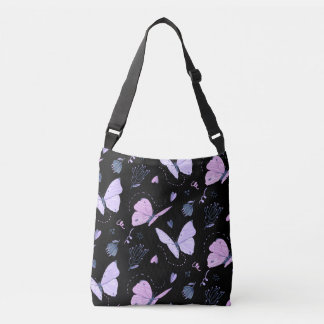 Painted purple Butterflies on night background Crossbody Bag