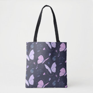 Painted purple Butterflies on night background Tote Bag