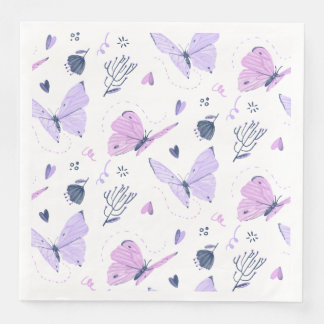 Painted purple Butterflies on white nature Paper Dinner Napkin