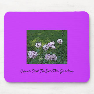 Painted Purple Flower Garden Mouse Pads