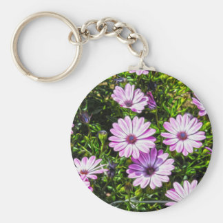 Painted Purple Flowers Basic Round Button Keychain