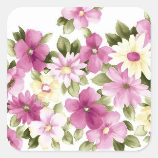 Painted Purple Flowers Square Sticker