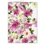 Painted Purple Flowers Stationery Note Card