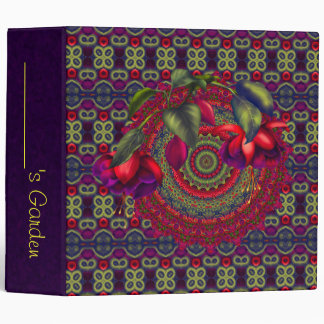 Painted Purple & Red Fuchsias 3 Ring Binder