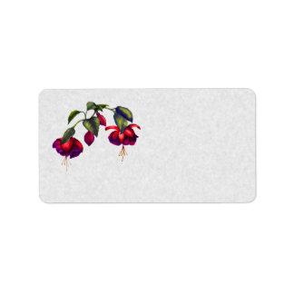 Painted Purple & Red Fuchsias Label