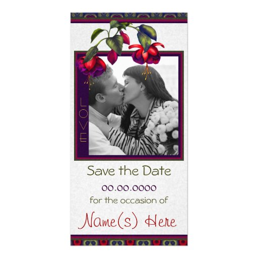Painted Purple & Red Fuchsias Picture Card