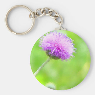 Painted Purple Thistle Key Chains