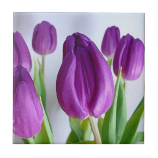 Painted Purple Tulips Ceramic Tile