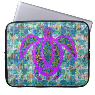 Painted Purple Turtle Laptop Sleeve