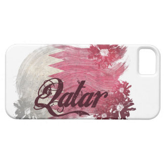 Painted Qatar Flag; Flowers iPhone 5 Cases